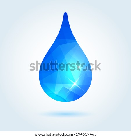 Clear water drop icon with modern triangle pattern - stock vector