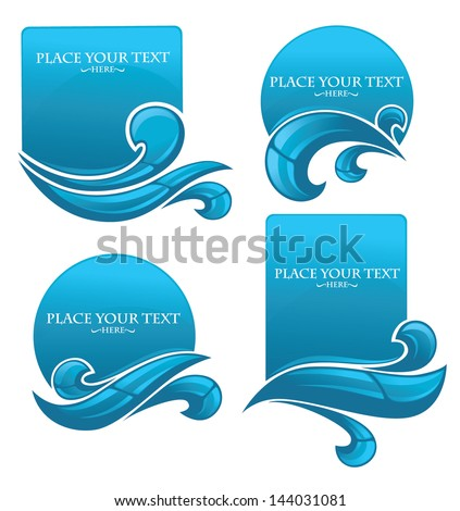 clear water, vector collection of stickers and symbols for your text - stock vector