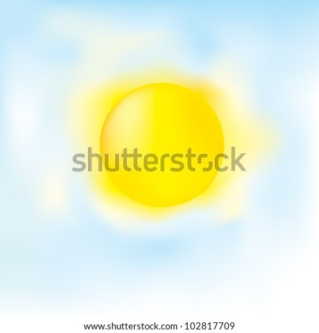 Clear weather / Blue sky with sun - stock vector