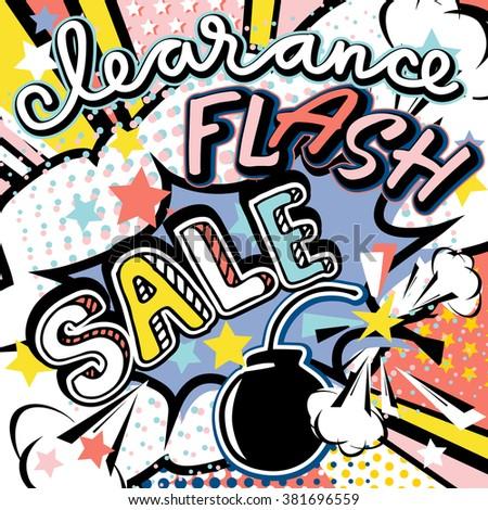Clearance flash sale handwritten quote. Rose quartz, serenity trend 2016 colors. Pop art bang splash bomb vector illustration   - stock vector