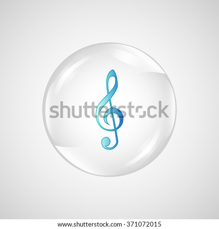 Clef isolated. Clef in shiny glossy ball. Vector illustration of music clef. Note key for music cartoon. Music element symbol  - stock vector
