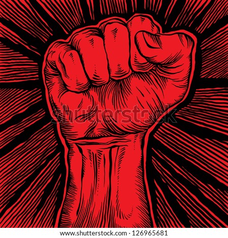 Clenched fist held high in protest, vector illustration. - stock vector