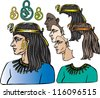 Cleopatra graphic vector elements. - stock photo