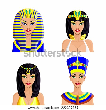 Cleopatra Queen of Egypt isolated on white background - stock vector