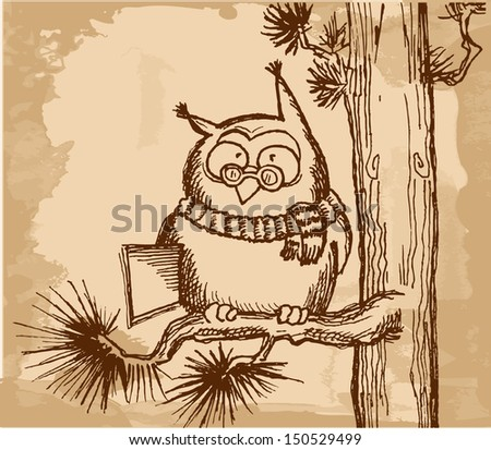 Clever owl with book on  pine branch