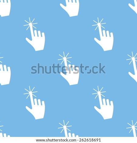 Click blue with white seamless pattern for web design. Vector symbol - stock vector