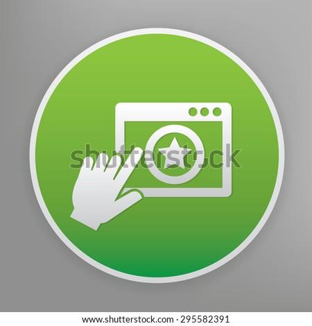 Click design icon on green button, clean vector - stock vector