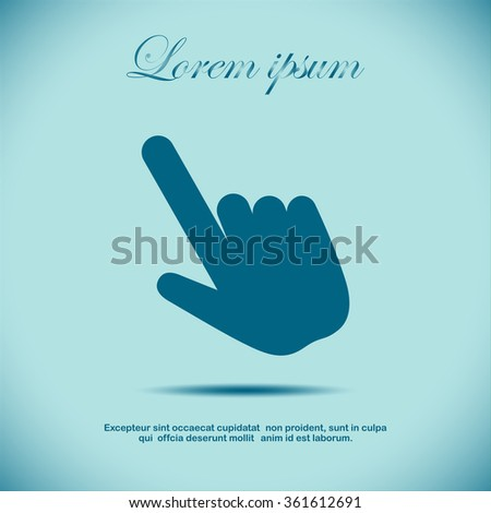 Click, Hand Icon, Touch Icon, Pressing a Button, doorbell ringing, hand pressing, - stock vector