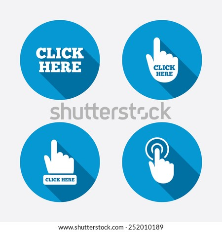 Click here icons. Hand cursor signs. Press here symbols. Circle concept web buttons. Vector - stock vector