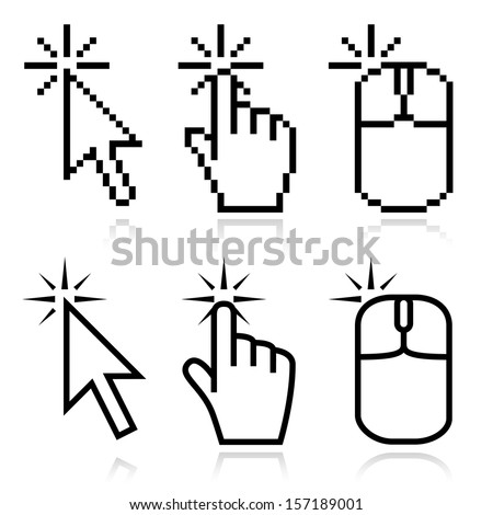 Click here mouse cursors set. Arrow, hand and mouse left click icons. This set fits for illustration of place of clicking. - stock vector