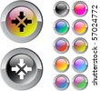 Click here multicolor glossy round web buttons. - stock vector