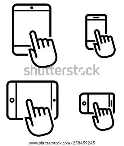 Click on mobile device icons set - stock vector