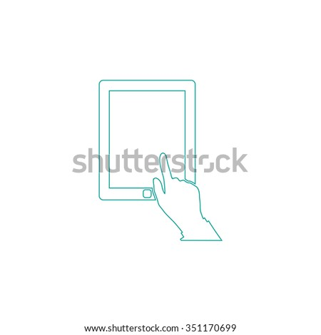 click tablet Outline vector icon on white. Line symbol pictogram  - stock vector