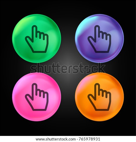 Clicker crystal ball design icon in green - blue - pink and orange.