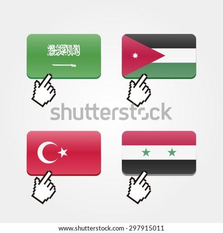 Clicking on flags, with mouse cursor (Saudi Arabia / Jordan / Turkey / Syria) - stock vector