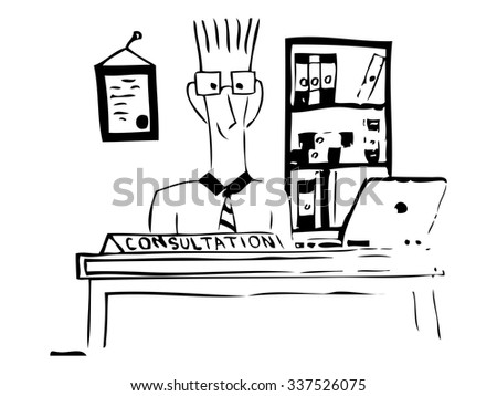 Client consulting. Drawing. Sketch style. Vector illustration. - stock vector