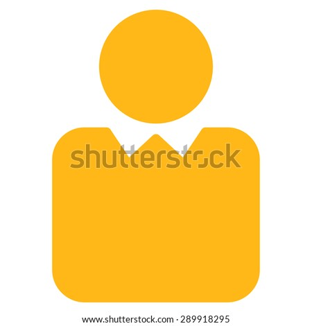 Client icon from Business Bi-color Set. This flat vector symbol uses yellow color, rounded angles, and isolated on a white background. - stock vector