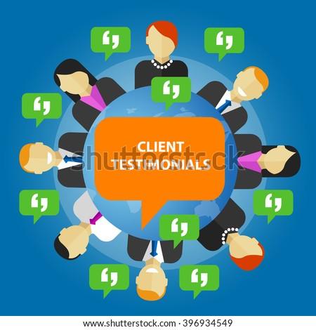 client testimonials consumer feedback service opinion - stock vector