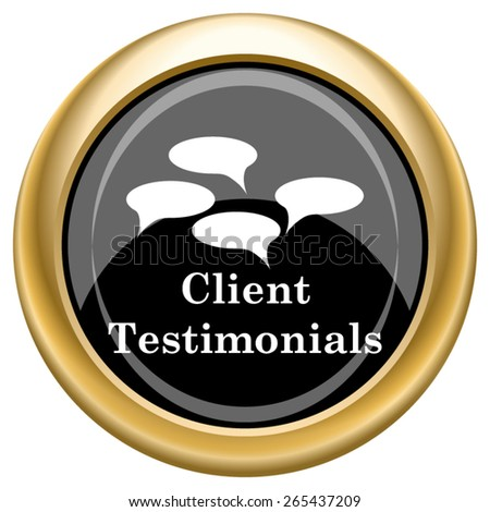 Client testimonials icon. Internet button on white  background. EPS10 Vector.  - stock vector