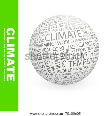 CLIMATE. Globe with different association terms. - stock vector