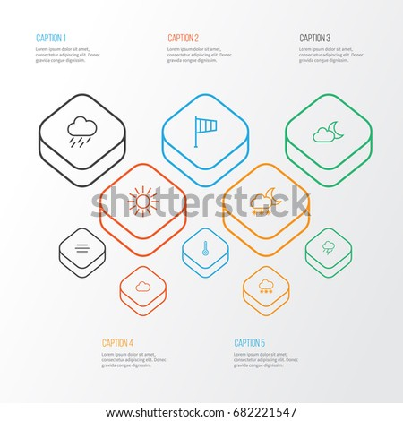 Climate Outline Icons Set Collection Windsock Stock Photo (Photo ...
