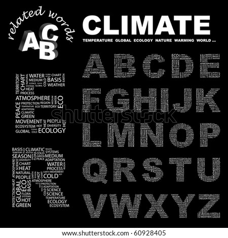 CLIMATE. Vector letter collection. Illustration with different association terms.