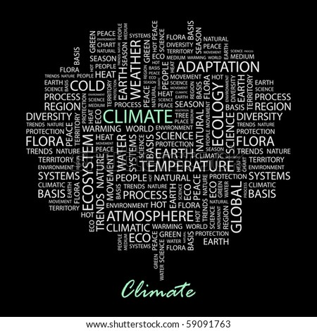 CLIMATE. Word collage on black background. Illustration with different association terms.