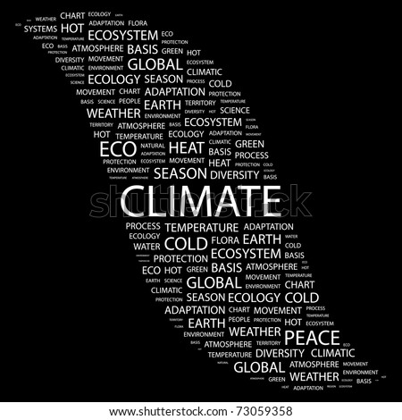CLIMATE. Word collage on black background. Vector illustration. Illustration with different association terms. - stock vector