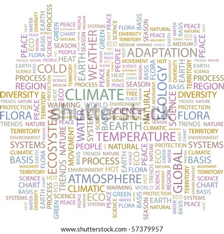 CLIMATE. Word collage on white background. Illustration with different association terms. - stock vector