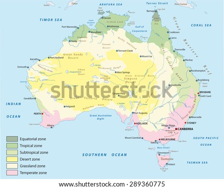 climate zone map of australia - stock vector