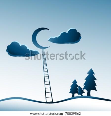climb me to the moon - stock vector