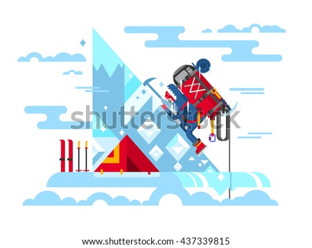 Climber conquers the summit - stock vector