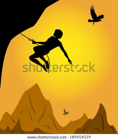 climber on sunset background  - stock vector