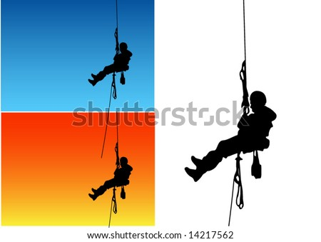 Climber silhouettes - stock vector