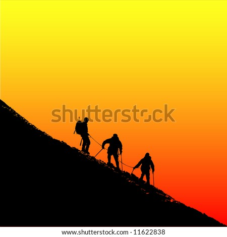Climbers ascending a ridge at sunset in the alps - stock vector