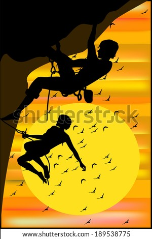 Climbers on sunset background  - stock vector