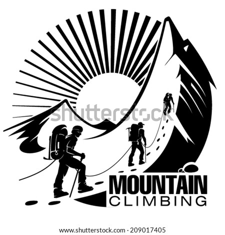 Climbing a mountain. Vector illustration in the engraving style - stock vector