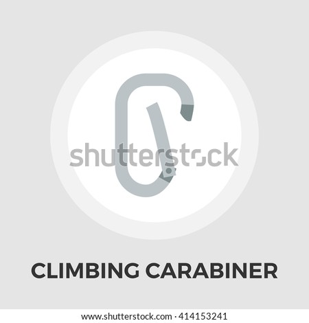 Climbing carabiner icon vector. Flat icon isolated on the white background. Editable EPS file. Vector illustration. - stock vector