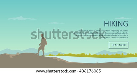 Climbing, hiking, backpacking, walking. Outdoor, sport, nature. Flat design. Outdoor recreation concept. Travel with backpack. Camping. Landscape. - stock vector