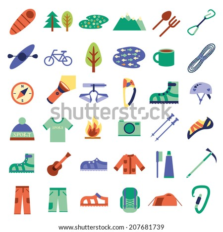 Climbing, hiking, trekking, camping, speleology and ice climbing equipment vector set. Vector flat icons - stock vector