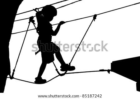 Climbing kid silhouette. Vector image. - stock vector