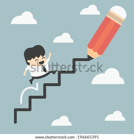 climbing ladder of success - stock vector