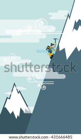 Climbing mountain vector illustration flat design - stock vector