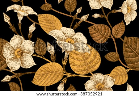 Climbing plant ivy. Vector seamless floral pattern. Garden flower bindweed. Flower Illustration - template design luxury packaging, textile, paper. Golden branch, leaves, flowers on black background. - stock vector