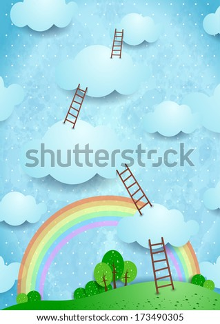 Climbing, vector illustration  - stock vector