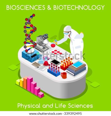Clinic Nanotechnology Clinical Trial Biosciences Laboratory Biotechnology Lab. Hospital DNA Bank Microbiology HealthCare 3D Flat Isometric People Collection. Science JPG JPEG EPS 10 AI Vector Image - stock vector