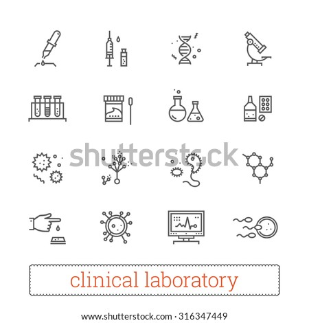 Clinical laboratory thin line icons: medicine science, virology study, microbiology assay, immune system analysis, genetics, diagnostic equipment, medical tools. Modern vector design elements. - stock vector