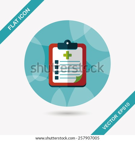 clinical record flat icon with long shadow - stock vector