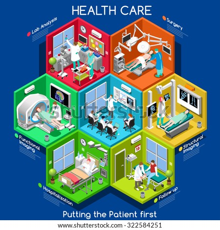 Clinical Trials and Healthcare. Hospital Departments with People NEW bright palette 3D Flat Vector Icon Set. Rooms with Patients Doctors Nurses Scrubs Staff Support Workers. Putting the Patient 1ST - stock vector