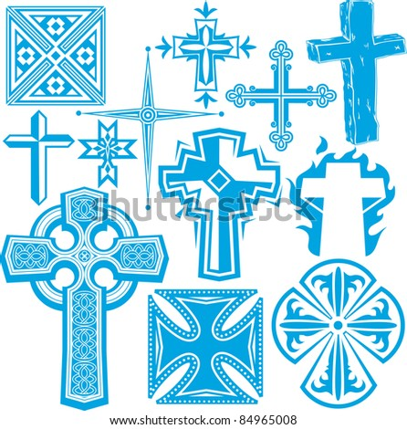 Clip art collection of cross icons and symbols - stock vector